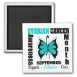 Ovarian Cancer AWARENESS Month Butterfly 2 Inch Square Magnet