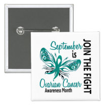 Ovarian Cancer Awareness Month Butterfly 3.1 Pinback Button