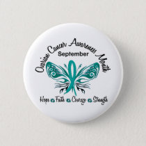 Ovarian Cancer Awareness Month Butterfly 3.2 Pinback Button