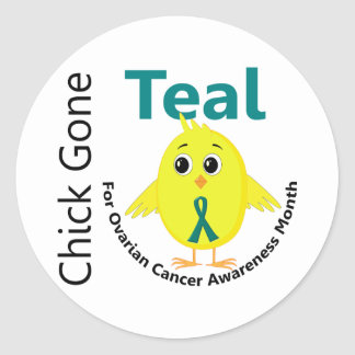 Ovarian Cancer Awareness Month Chick 1 September Classic Round Sticker