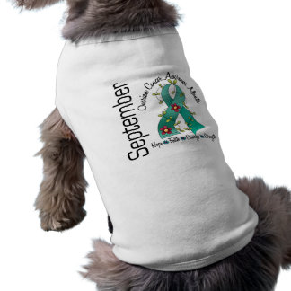 Ovarian Cancer Awareness Month Flower Ribbon 1 Pet Clothing