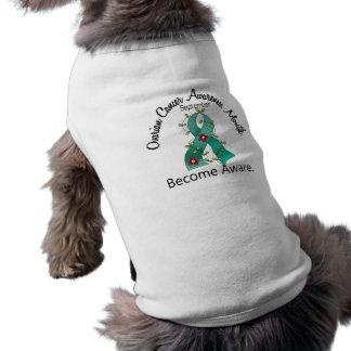 Ovarian Cancer Awareness Month Flower Ribbon 2 Doggie T-shirt