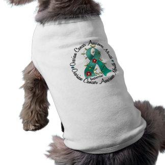 Ovarian Cancer Awareness Month Flower Ribbon 3 Dog T-shirt