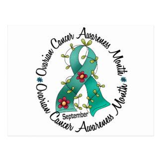 Ovarian Cancer Awareness Month Flower Ribbon 3 Postcard
