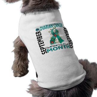 Ovarian Cancer Awareness Month Flower Ribbon 4 Dog T-shirt