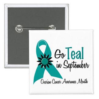 Ovarian Cancer Awareness Month Flowers 2 Pinback Buttons