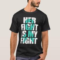 Ovarian Cancer Awareness Month Gift, Teal Ribbon T-Shirt