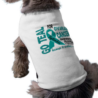 Ovarian Cancer Awareness Month GO TEAL Doggie Tshirt
