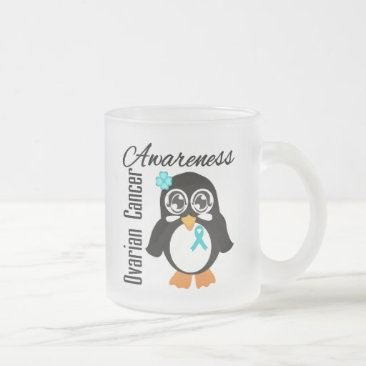 Ovarian Cancer Awareness Penguin 10 Oz Frosted Glass Coffee Mug