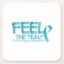 Ovarian Cancer Awareness Square Paper Coaster
