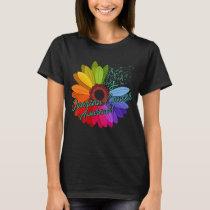 Ovarian Cancer Awareness Sunflower Support Cancer T-Shirt