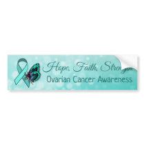 Ovarian Cancer Awareness Teal Butterfly Ribbon Bumper Sticker