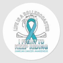 Ovarian cancer awareness teal ribbon classic round sticker