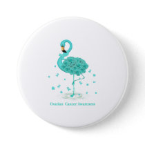 Ovarian Cancer Awareness Teal Ribbon Flaming Button