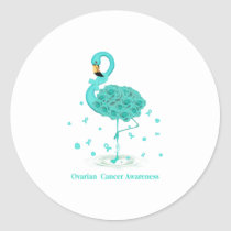 Ovarian Cancer Awareness Teal Ribbon Flaming Classic Round Sticker