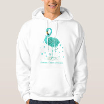 Ovarian Cancer Awareness Teal Ribbon Flaming Hoodie