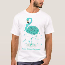 Ovarian Cancer Awareness Teal Ribbon Flaming T-Shirt