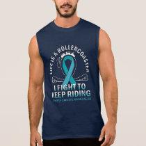 Ovarian cancer awareness teal ribbon sleeveless shirt
