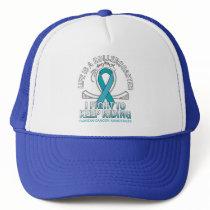 Ovarian cancer awareness teal ribbon trucker hat