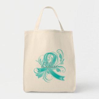 Ovarian Cancer Believe Flourish Ribbon Bags