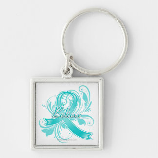 Ovarian Cancer Believe Flourish Ribbon Silver-Colored Square Keychain