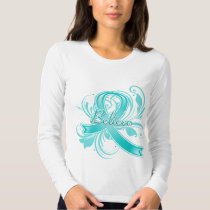 Ovarian Cancer Believe Flourish Ribbon T-shirt