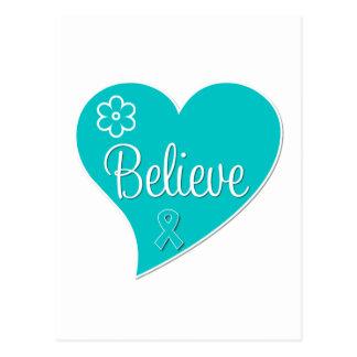 Ovarian Cancer Believe Heart Postcard
