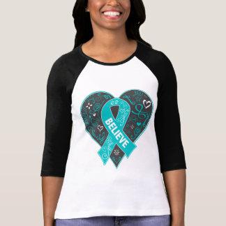 Ovarian Cancer Believe Ribbon Heart T-Shirt