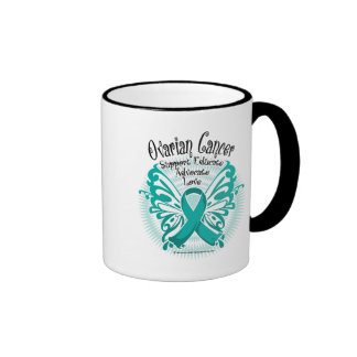 Ovarian Cancer Butterfly 3 Ringer Mug