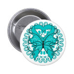 Ovarian Cancer Butterfly Circle of Ribbons Pinback Buttons