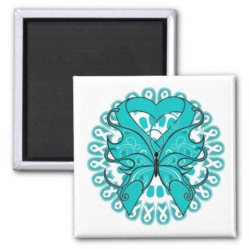 Ovarian Cancer Butterfly Circle of Ribbons Magnets