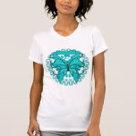 Ovarian Cancer Butterfly Circle of Ribbons T Shirt