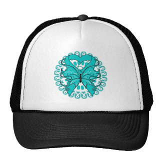 Ovarian Cancer Butterfly Circle of Ribbons Trucker Hat