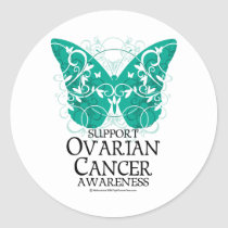 Ovarian Cancer Butterfly Classic Round Sticker