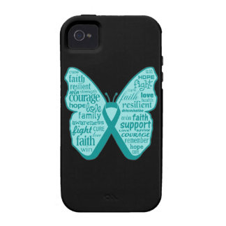 Ovarian Cancer Butterfly Collage of Words Case-Mate iPhone 4 Cases