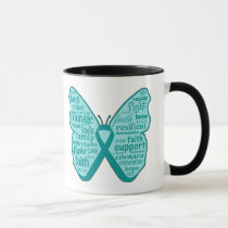 Ovarian Cancer Butterfly Collage of Words Mug