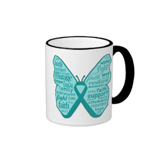 Ovarian Cancer Butterfly Collage of Words Ringer Mug