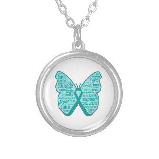 Ovarian Cancer Butterfly Collage of Words Custom Jewelry