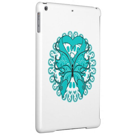 Ovarian Cancer Butterfly Heart Ribbon Case For iPad Air