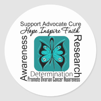 Ovarian Cancer Butterfly Inspirations Classic Round Sticker