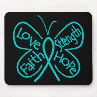 Ovarian Cancer Butterfly Inspiring Words Mousepads