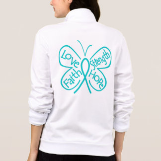Ovarian Cancer Butterfly Inspiring Words Printed Jacket