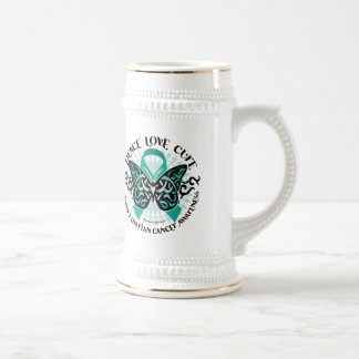 Ovarian Cancer Butterfly Tribal 2 Beer Stein