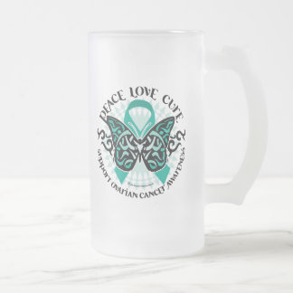 Ovarian Cancer Butterfly Tribal 2 Frosted Glass Beer Mug