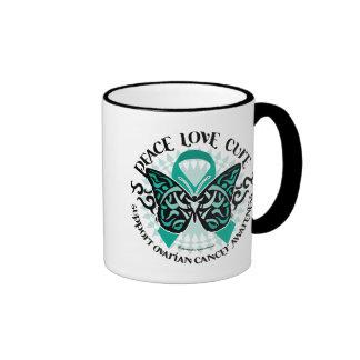 Ovarian Cancer Butterfly Tribal 2 Ringer Mug