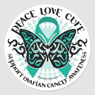 Ovarian Cancer Butterfly Tribal 2 Classic Round Sticker