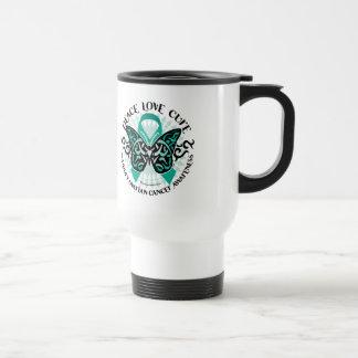 Ovarian Cancer Butterfly Tribal 2 Travel Mug