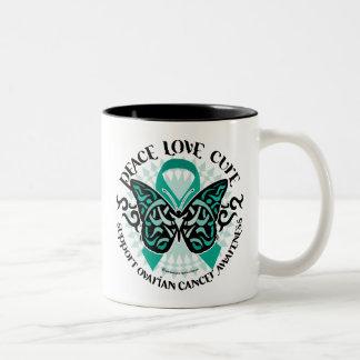 Ovarian Cancer Butterfly Tribal 2 Two-Tone Coffee Mug