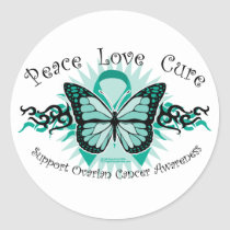 Ovarian Cancer Butterfly Tribal Classic Round Sticker