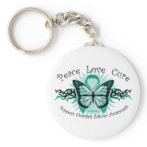 Ovarian Cancer Butterfly Tribal Keychain